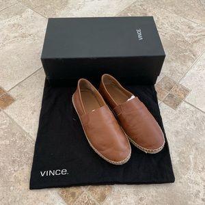 Men's brown leather Vince espadrilles. Size 7 (40)